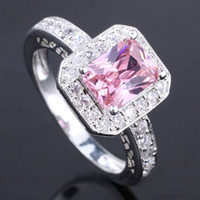 Wholesale 6Pcs Women X8Mm Oblong Pink Cubic Zirconia Silver Ring Yin Women Rings J7443 Rings Size