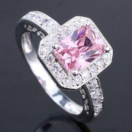 6Pcs Women 6X8Mm Oblong Pink Cubic Zirconia Silver Ring Yin Women Rings J7443 Rings Size 6