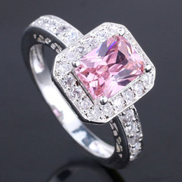 6 Pieces Womens Oblong Pink Cz Slim Band Silver Ring Yin Womens Rings J7444 Size 8