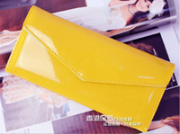 Wholesale New lady patent leather long wallet wallet cute candy colored female women handbag bag card bag pc