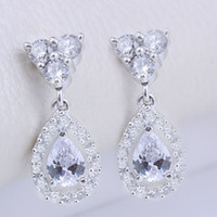 Wholesale New Fancy Women Fashion Earrings Pear Clear White Topaz Stone EH0126 Yin Dangle Piercing Pin