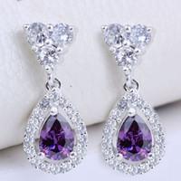 Wholesale Earrings Pear Purple Amethyst Stone EH0129 Yin Dangle Piercing Pin Jewelry Women Fashion