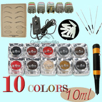 Wholesale Permanent Makeup Kit Tattoo Eyebrow Ink Pigment Color Make up Pen Machine Needle Tips Kit Set