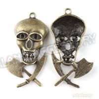 Gift axe head - Skull Head Axe amp Knife Charm Pendant Bronze Alloy Vintage Pendant Handcraft Finding