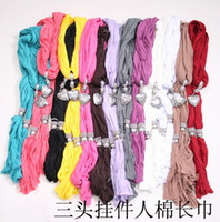 Wholesale Soft Charm Pendant Scarves Jewelry Scarves Fashion Jewelry Scarf Mix Colors
