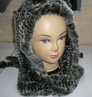 Wholesale Rex Rabbit Fur Hat Cap Scarf Hood hat Fashion