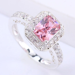 New Stylish Lady Cocktail Silver Ring 6X8Mm Rectangle Stone Pink Cz J7414 Yin Free Shipping Size 7