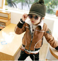 Wholesale Children faux leather jacket boys winter warm faux leather coat Children cotton padded clothes