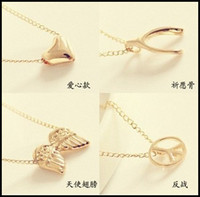 Wholesale 30PCS Clavicle Necklace Sweater Chain NEW Lovely Skull Angel Wishing Cross Jewelry