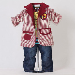 2015 Kids Boys Clothing Sets 50% OFF Christmas And Halloween Red Striped Baby 3Pcs Suit + Hoodies + Pants Big Clearance Sale CS20707-25