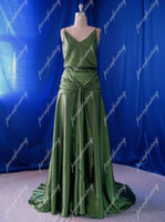 Wholesale Keira Knightley Inspired Green Backless Evening Dresses Actual Images Satin A Line Brush Train Gowns