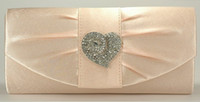 Wholesale Ladies Heart Shape Rhinestones Bridal Hand Bags Clutch Bags Evening Prom Handbags Sky Blue Champagne