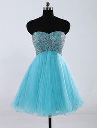 Wholesale Sexy In Stock Sweetheart Tulle Graduation Dresses Beads SequinProm Cocktail Party Homecoming Dresses