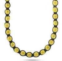 Wholesale Mens Yellow Disco Ball Bead Buddhist Necklace Jewelry Iced Out Chain
