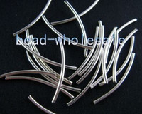 Wholesale 1200pcs silver plated curved tube spacer beads finding