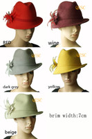 Wholesale NEW COLOR Wool felt hat winter hat with feather flower one side up brim best choice for winter