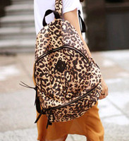 Wholesale The new European and American personality leopard waterproof shoulder bag schoolbags