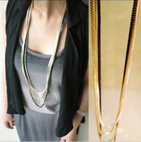 Wholesale 2012 women necklace elegant enamel multi layer metal chain necklace long sweater necklace jewelry