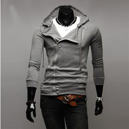 Wholesale Autumn outfit Unique inclined zipper cotton hoodies Men s slim fit Sweatshirts Guardcoat M L XL XXL