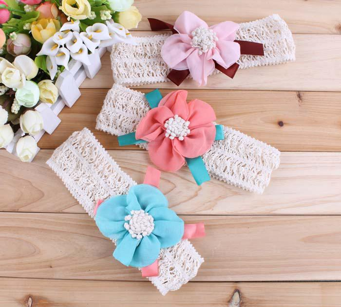 Wholesale - Girls Flower Baby Headbands Girls Hair Band Children Hair
