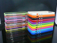 Wholesale iPhone Silicone TPU Frame Bumper Case Cover with Metal Button for iPhone Retail Packing Box