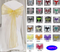 Wholesale 50 Wedding Organza Chair Cover Sashes Sash Party Banquet Decor Bow Colours