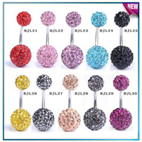 Wholesale Body Jewellery amp mm Crystal Ball L Steel Belly Bar Navel Ring Body jewelry FreeShippingBJLmix4