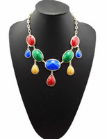 Wholesale European Style Gold Plated Geometry Facets Gems Drip Choker Statement Necklace mix color