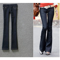 Wholesale 2012 Hot sale Fashion denim fabric flared trousers casual elastic jeans with belt lower garment