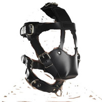 Wholesale Black Leather Head Harness with Muzzle Leather Muzzle G best price bdsm on sale hot sale
