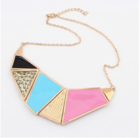 Wholesale Punk Atmosphere Geometric Necklaces Bright Hit Colors Women Necklaces