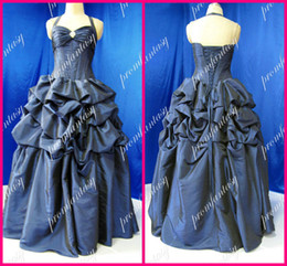 Wholesale Actual Images Full Length Taffeta Ball Gown Halter Backless Corset Boned Bubble Quinceanera Dresses
