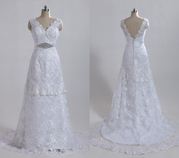 Wholesale 2012 Hot sale sexy V neckline with a shining beaded belt A line lace court white bridal gowns GH