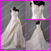 Wholesale Custom Real Image Luxury Ball Gown One shoulder Hand Flower Embroidery Ruffle Chapel Wedding Dresses
