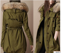 Wholesale Explosion models women classic dark green coat raccoon hair collar coat long section of split ends
