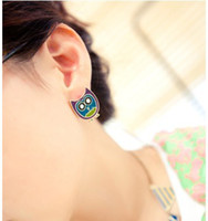 Wholesale Painted Owl Earrings Metal Diamond Cartoon Earrings