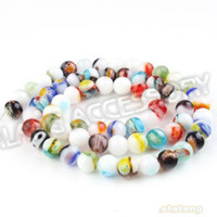 Wholesale New Arriva Round Colorful Flowers Lampwork Glass Beads Necklace Fit Handcraft DIY sting