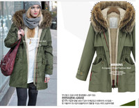 Wholesale New Raccoon fur collar hooded Ms cotton padded army green cotton coat and long sections
