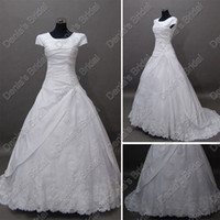 Wholesale New Arrival Vintage Short Sleeves Bridal Wedding Dresses Tulle Lace Cover Real Actual Images DB239