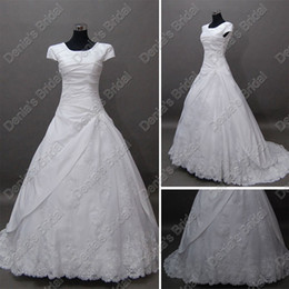 New Arrival Vintage Short Sleeves Bridal Wedding Dresses Tulle Lace Cover Real Actual Images DB239