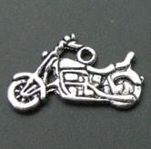 motorcycle charms - IN STOCK Tibetan Silver Motorcycle Charms Beads Findings x25mm B2159