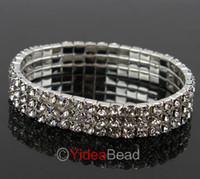 Wholesale 7pcs ROW Crystal Rhinestone Wedding Party Stretchy Bracelet Bling Wristband