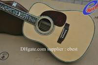 Wholesale Deluxe acoustic guitar natural Solid spruce Tree of Life inlay fret board Abalone Binding Body
