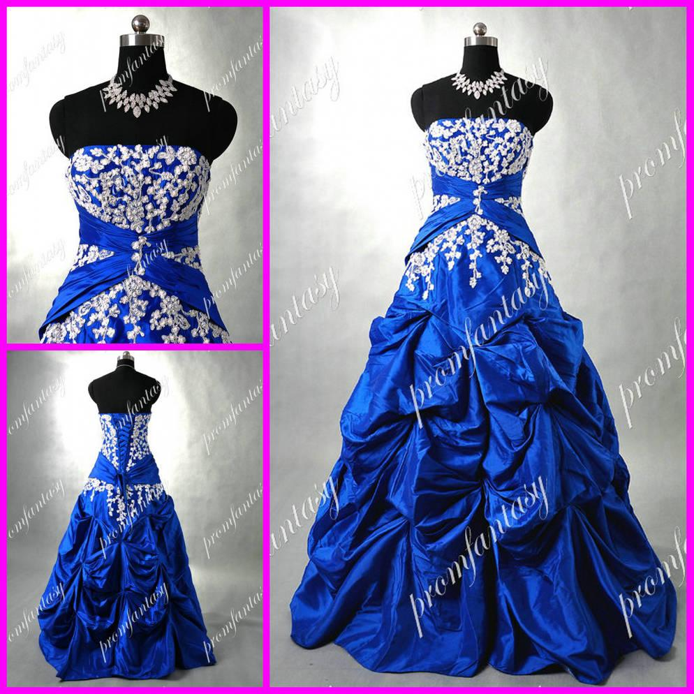 Royal blue wedding evening gowns vintage custom made 2016 for Royal blue and silver wedding dresses