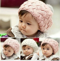 Wholesale 2016 new fashion Autumn Winter knitting wool cake hat lie fallow cap children baby hats edison168