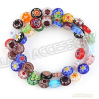 Wholesale Fashion Mixed Color Oblate Flower Lampwork Glass Beads Necklace Fit Handcraft DIY string