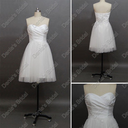 2012 Short Beach Wedding Dresses Sweetheart Pleated Neck Tulle Skrit Real Actual Images Martine