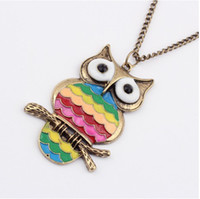 Asian & East Indian asian oil painting - Rainbow Owl Necklaces Drop Of Oil Painting New Pendants