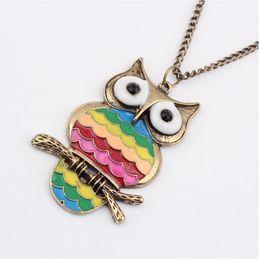 Wholesale Rainbow Owl Necklaces Drop Of Oil Painting New Pendants