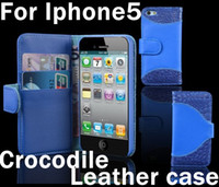 crocodile skin - Crocodile grain Flip PU Leather Credit card pouch skin case for iPhone G GS by DHL FEDEX